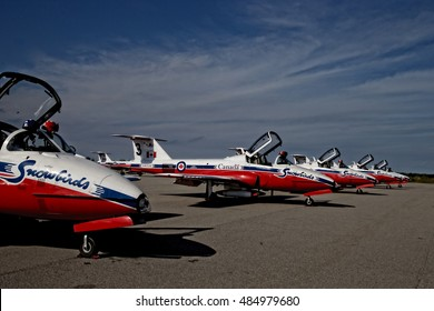 NIAGARA-ON-THE-LAKE, ONTARIO, CANADA - September 13 2016. Canadian Snowbirds land and park at regional airport, taken on September 13, 2016, in Niagara-On-The-Lake.