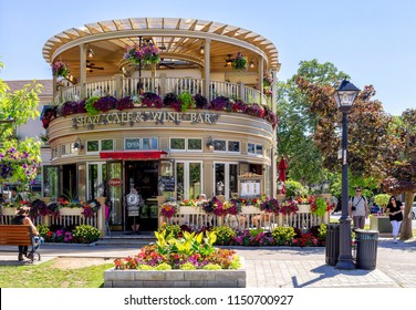 Niagara-on-the-lake, Ontario, June 14, 2018: A famous restaurant, located in the Queen Street, is a fine wine bar and cafe full of colors, mainly in spring time, with flowers all around.