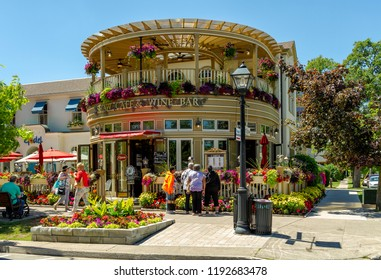 Niagara-on-the-lake, Ontatio, Canada - June 14, 2018: A famous restaurant, in Queen Street, is a fine wine bar and cafe, full of colors, mainly in spring time, when the flowers complete the visual.