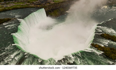 Niagra Falls Canada can be seen here from an aerial perspective from the United States