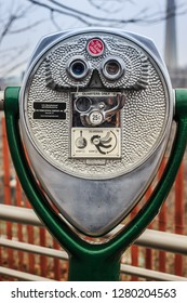 NIAGRA FALLS, USA, JANUARY 5TH, 2019 - Close up of Coin-operated binoculars from The Tower Optical Co. Taken in Niagara Falls.
