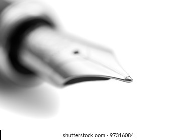 The nib of a fountain pen - close-up.