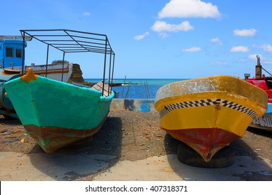Nicaragua. Boats on the pier of San Juan Del sur. San Juan Del sur is a resort on the ocean coast in Nicaragua with beautiful beaches.