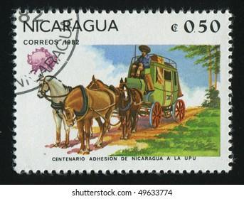 NICARAGUA - CIRCA 1982: stamp printed by Nicaragua, shows driver horse, circa 1982.
