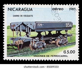 NICARAGUA - CIRCA 1983: A stamp printed in Nicaragua shows Railroad locomotives, circa 1983
