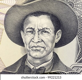NICARAGUA - CIRCA 1985: Augusto Cesar Sandino (1895-1934) on 1000 Gordobas 1985 Banknote from Nicaragua. Nicaraguan revolutionary and leader of a rebellion against the U.S. military occupation.