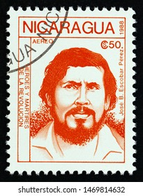 """NICARAGUA - CIRCA 1988: A stamp printed in Nicaragua from the """"Revolutionaries"""" issue shows Jose B. Escobar Perez, circa 1988."""