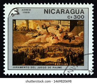 NICARAGUA - CIRCA 1989: A stamp printed in Nicaragua issued for the 200th anniversary of French Revolution shows Juramento Del Juego de Paume by Jacques-Louis David, circa 1989.