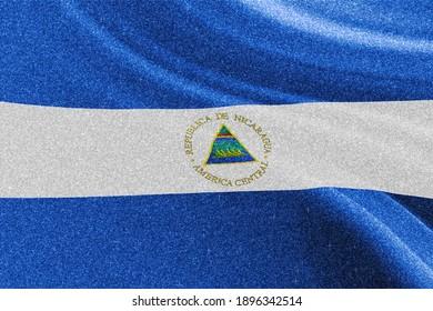 Nicaragua glitter flag, national flag, glittering flag sparkle background