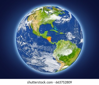 Nicaragua highlighted in red on planet Earth. 3D illustration with detailed planet surface. Elements of this image furnished by NASA.