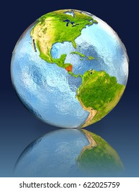 Nicaragua on globe with reflection. Illustration with detailed planet surface. Elements of this image furnished by NASA.