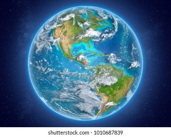 Nicaragua in red on model of planet Earth with clouds and atmosphere in space. 3D illustration. Elements of this image furnished by NASA.