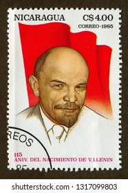Nicaragua stamp circa 1985: a stamp printed in Nicaragua shows Chairman of the communist party : Lenin portrait illustration.