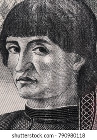Niccolo Machiavelli face portrait on Italian lira banknote close up macro, father of modern political science