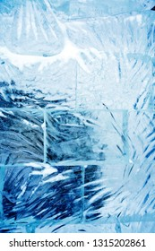 Nice abstract blue background made from clean blue ice bricks