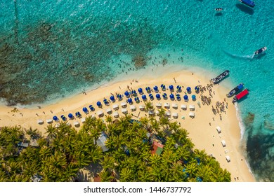 Nice aerial view of Johnny cay in San Andres Island - Colombia. Mar de los siete colores. Beach full of tourists
