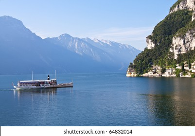 An nice antique Paddle Wheel Boat on Lake Garda (Lago di Garda) Italy.