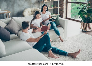 Nice attractive charming friendly adorable cheerful idyllic glad brunette family schoolgirl wearing casual white t-shirts jeans spending free time at industrial loft style interior living-room indoor