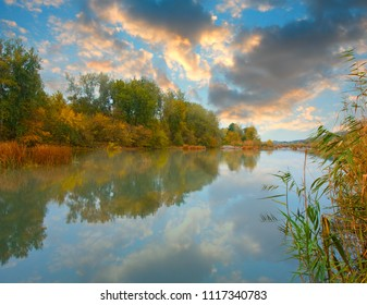 Nice autumn landscape on river