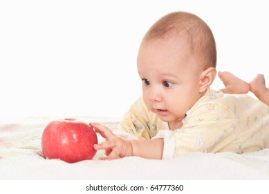 nice baby and apple on a white background