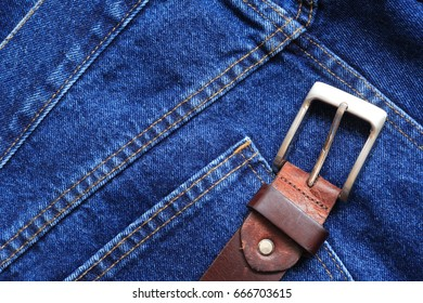 Nice background made from extreme closeup blue jeans with belt