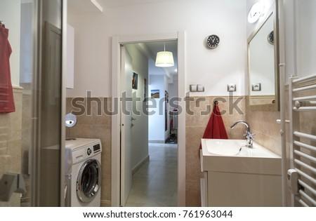 Nice Bathroom Tworoom Apartment Washing Machine Stock Photo Edit - Nice-apartment-bathrooms