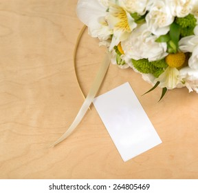 Nice and beautiful bridge bouquet with businesscard