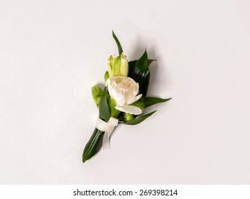 Nice and beautiful buttonhole on the white background