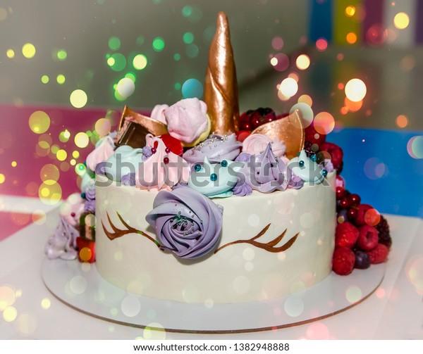 Terrific Nice Birthday Cake Unicorn Stock Photo Edit Now 1382948888 Funny Birthday Cards Online Necthendildamsfinfo
