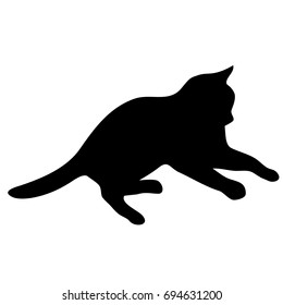 Nice black and white cat logo. Light white silhouette isolated from background. Cat pet in line art.
