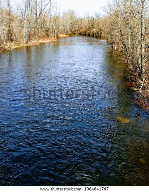 Nice blue river at Lac Mégantic