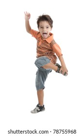 A nice brazilian and caucasian kid jumping in the air, wearing a nice orange t shirt, short jeans and tennis. Isolated on white.