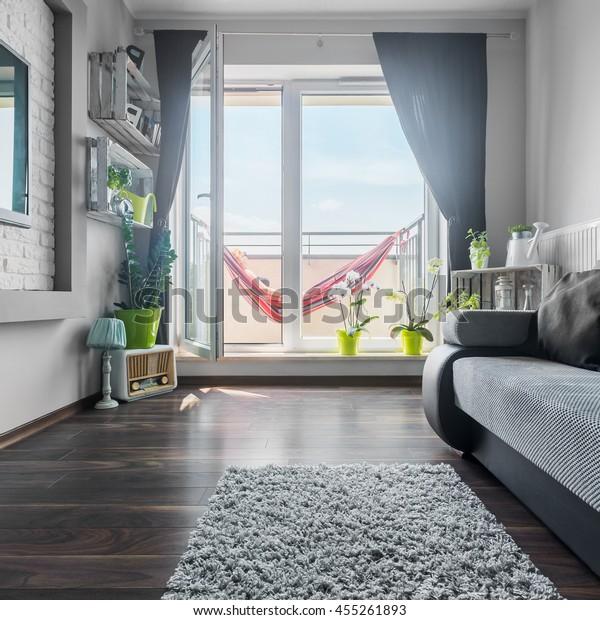 Nice Bright Living Room Grey White Stock Photo (Edit Now ...