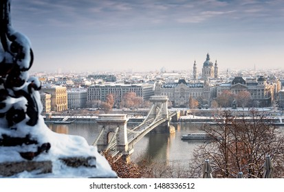 Nice Budapest in winter with snow