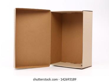 nice cardboard shoe box, isolated on white background