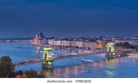 Nice Chain Bridge at night in Budapest, Hungary