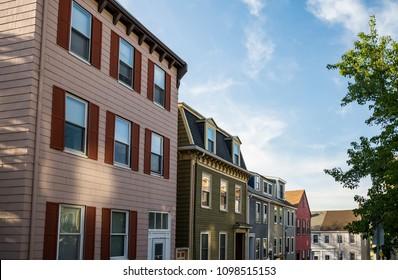 Nice Charlestown district, residential area near the Bunker Hill in Boston, Massachusetts, USA.