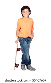 Nice child with wooden skateboard isolated on white background