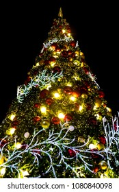 Nice christmas light with night sky background in holiday