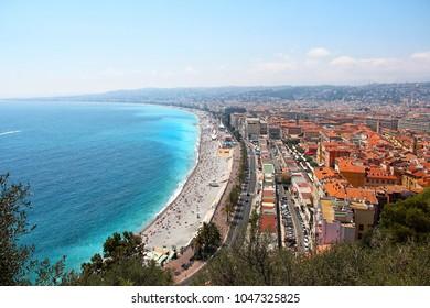 Nice city beach and Promenade des Anglais aerial view, Cote d'Azur, France