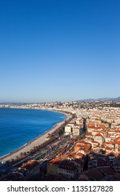 Nice city cityscape in France, aerial view over the city on French Riviera at Mediterranean Sea