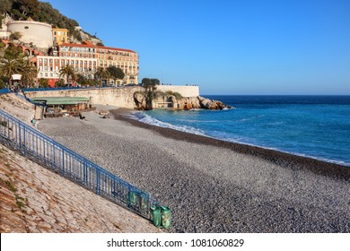 Nice city in France, beach on French Riviera (Cote d'Azur) at Mediterranean Sea