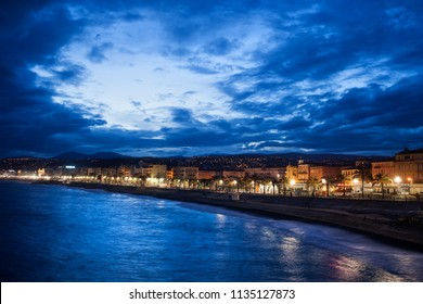 Nice city skyline at blue hour twilight in France