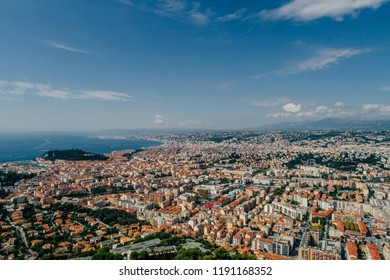 Nice city in the south of France on the azure coast a view from above Drone panorama