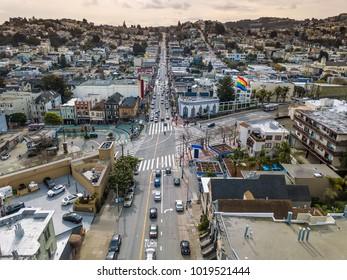 Nice cityscape of San Francisco in California USA. Panoramic aerial photo. Horizontal.