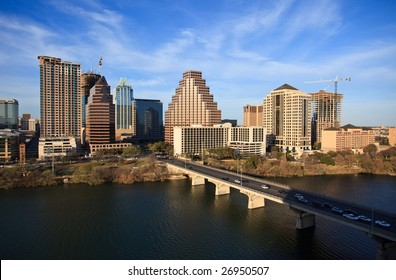 a nice clear day by the lake in downtown Austin Texas