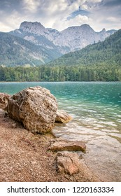 Nice clear water of the lake in the Alps