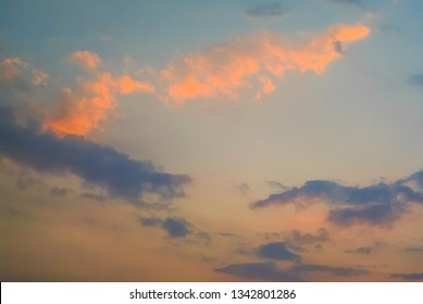 Nice clouds with sunset light effect