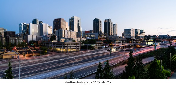 Nice color in this aerial view of Bellevue Washington and the I-405