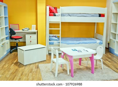 Nice colorful room full decorated with brand new furniture for baby and child